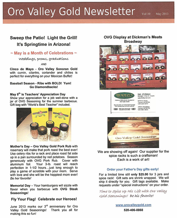 OVG  Newsletter Vol. 10 May 2013